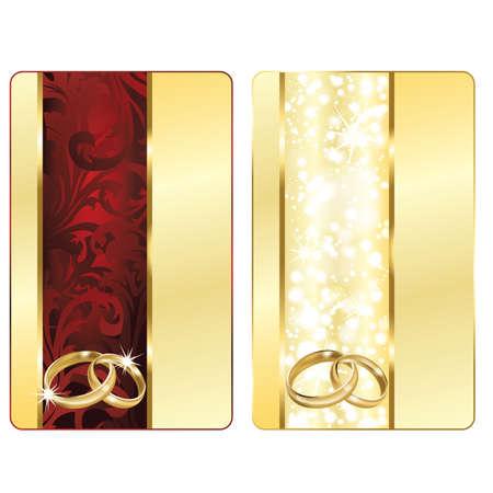 Zwei Wedding Card mit dem lieben Ringe