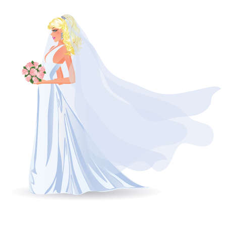 bride silhouette: Bride with bunch of flowers, isolated on white,