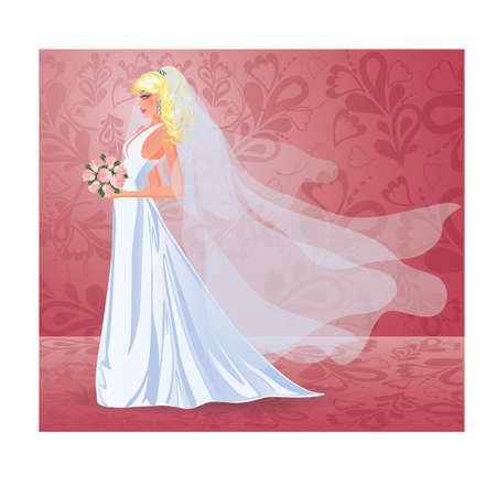 Wedding card. Beautiful young bride with bouquet, Vector