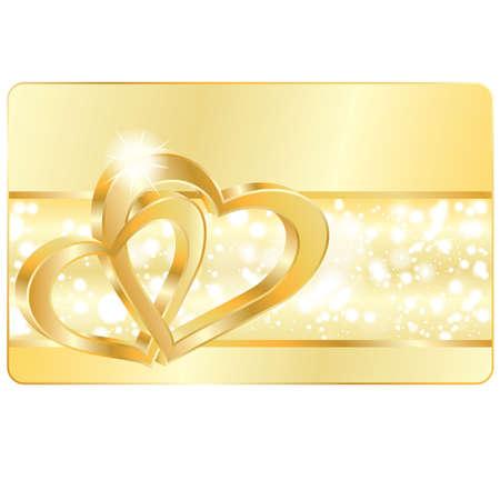 joyas de oro: Tarjeta con anillos de boda corazón, ilustración vectorial de amor Vectores
