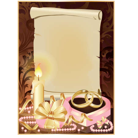 Tarjeta de invitaci�n de boda con vela y anillos de oro.