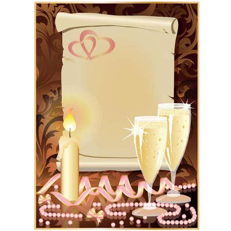 Carte de voeux de mariage avec bougie et champagne. Vecteurs