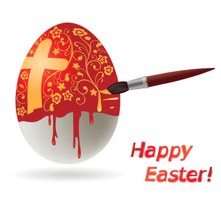 Easter egg while painting with brush, vector illustration Vector
