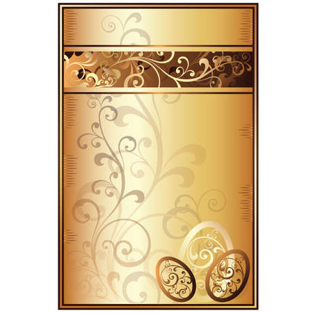 Easter golden greeting card, vector illustration