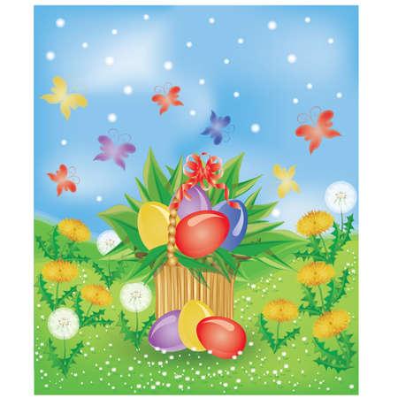 Easter basket , vector illustration Vector