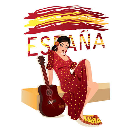 Spanish girl with guitar, vector illustration Stock Vector - 9088916