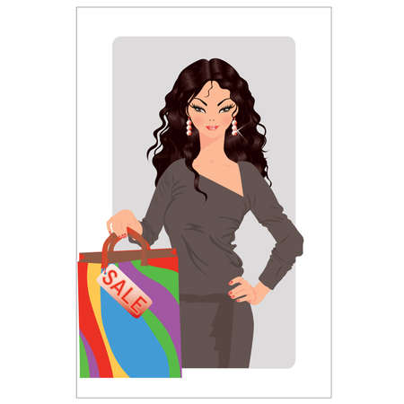 Sale time. Beautiful girl with sale bag Vector