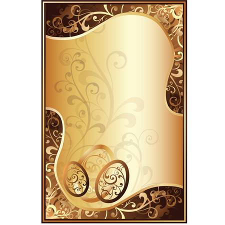 gold egg: Easter golden card with floral ornament and golden eggs.