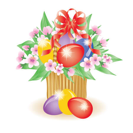 Easter basket with flowers Vector
