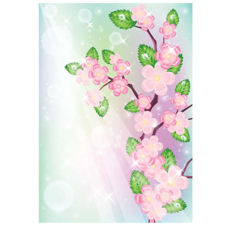 Background with sakura tree. Stock Vector - 9150836