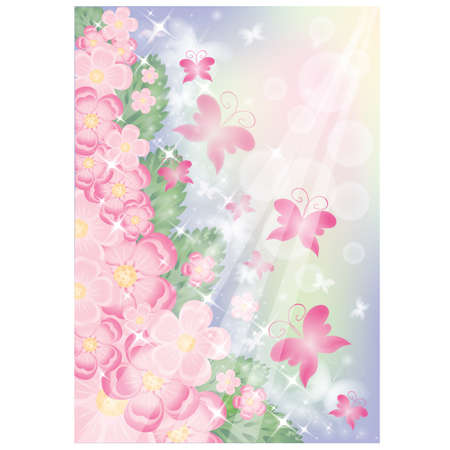 Flowers and Butterflies greeting card.  Vector