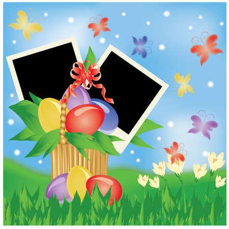 Biglietto di auguri di Pasqua con due cornice per foto Archivio Fotografico - 9194235