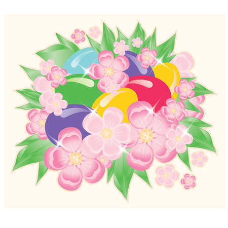bouquet  flowers: Easter eggs and flowers. vector illustration Illustration