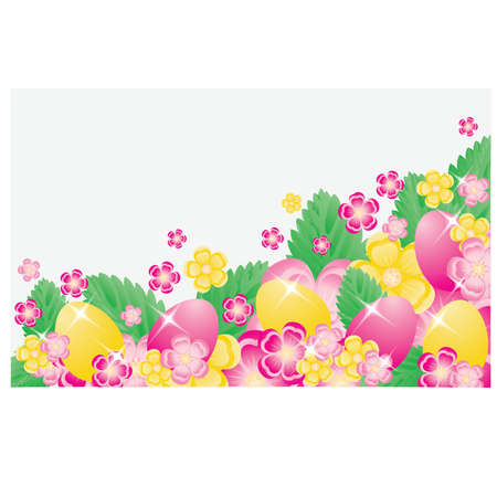 pasqua: Easter banner with eggs and flowers, vector illustration