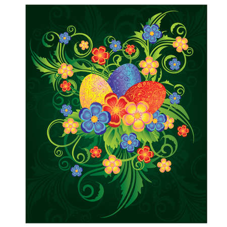 pasqua: Easter banner with spring flowers and eggs, vector illustration