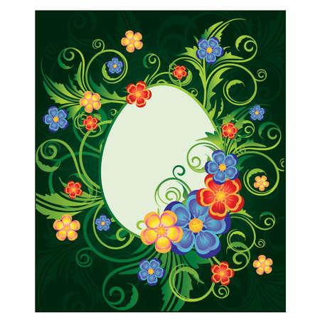 Easter card with egg-frame, vector illustration Vector