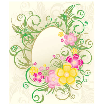 Easter frame with flowers and eggs, vector illustration Vector
