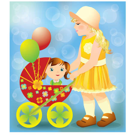 tvillingar: Little Girl playing with a baby carriage and doll, vector illustration