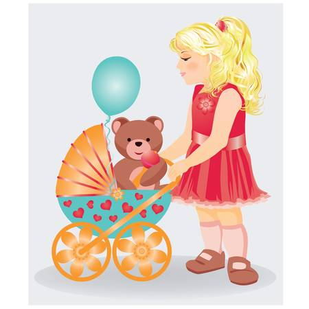 Beautiful little girl with a taddy bear and baby parm, vector illustration Vector