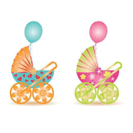 Two beautiful baby carriage, vector illustration Stock Vector - 9303991