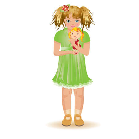 dolly: Little girl with red haired dolly, vector illustration