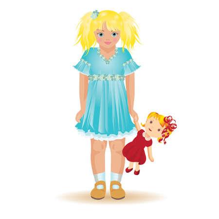 dolly: Bella ragazza bionda, giocando con un dolly, illustrazione vettoriale