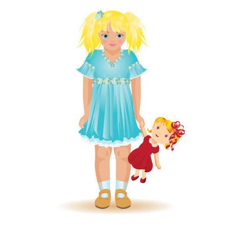 Het mooie blondemeisje spelen met dolly, vectorillustratie Vector Illustratie