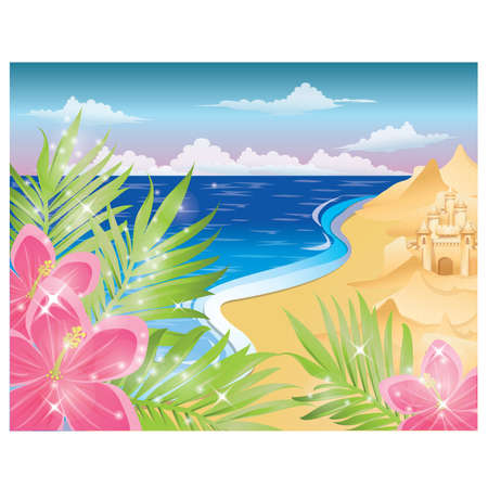 Summer card with flowers and sandcastle. vector illustration