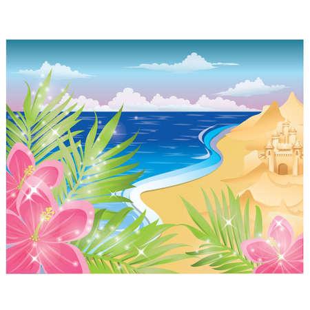 Tarjeta de verano con flores y Castillo de arena. ilustraci�n vectorial