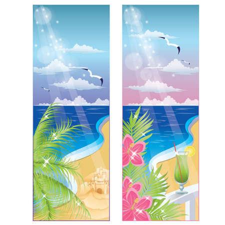 surf silhouettes: Estate banner, illustrazione