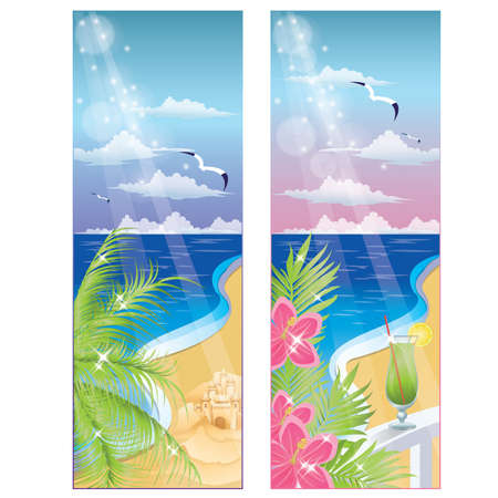 beach sunset: Summer banners, illustration Illustration