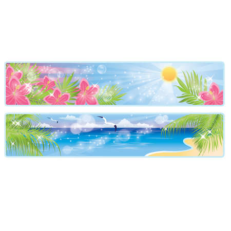 sand dune: Summer tropical banners, illustration Illustration