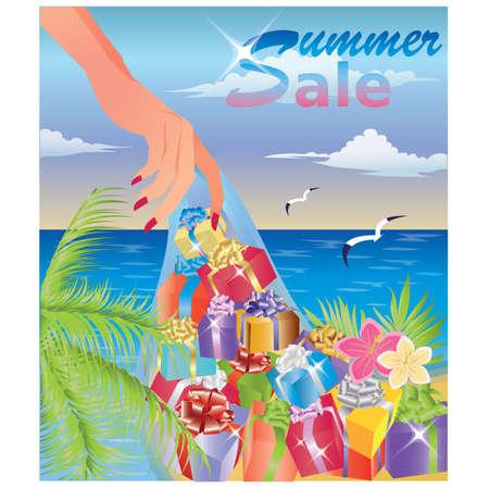 summer sale: Summer sale card Illustration