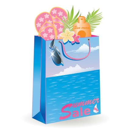 Summer sale shopping bag. vector illustration Stock Vector - 9370741