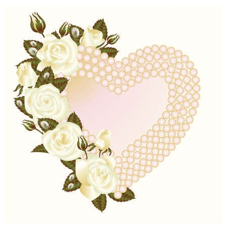 pearls and threads: White rose and pearls frame. vector illustration