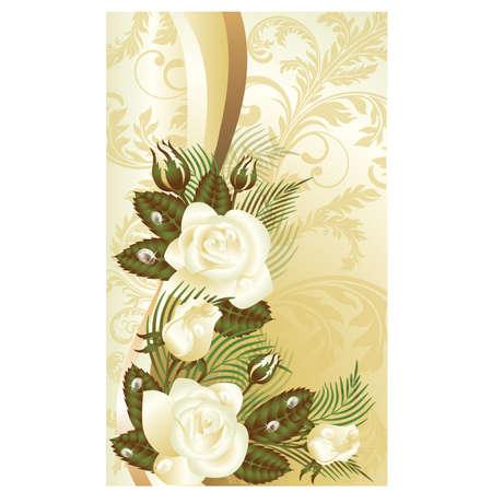 Floral greeting card, vector illustration