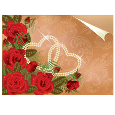 Beautiful Wedding card with two pearl hearts, vector illustration Vector