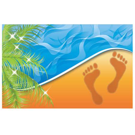 Summer time. Footprint on the Beach Sand, vector illustration Vector