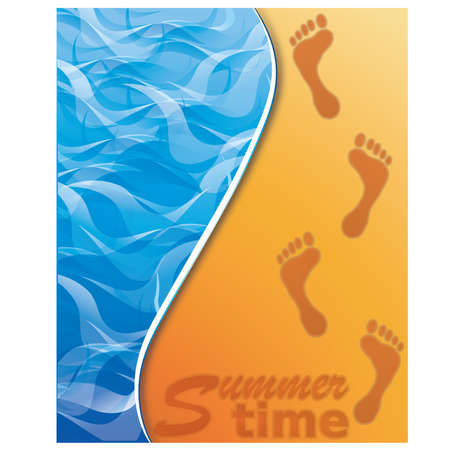 foot spa: Summer time banner. Footstep on the Beach Sand. vector illustration