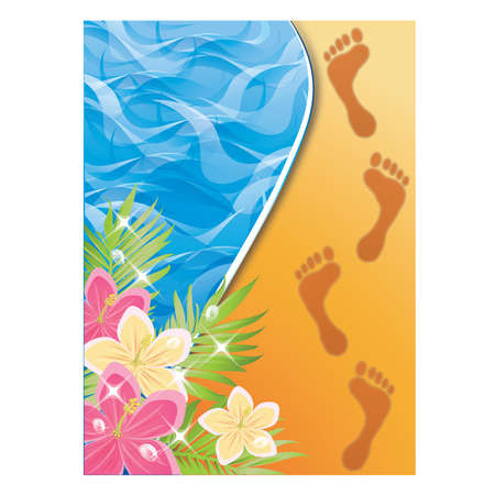 footprints sand: Summer time card. Footprints in the sand . vector illustration