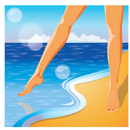pedicure: Summer time card. Foots on the beach  Illustration