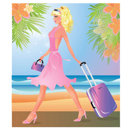 madam: Blondie Girl with travel bag, vector illustration