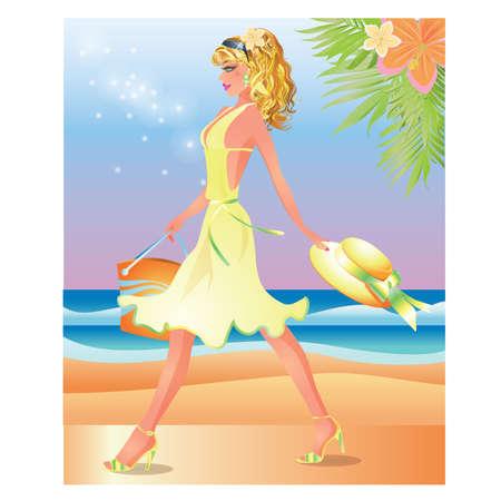 Pretty blonde girl sur la plage, illustration vectorielle