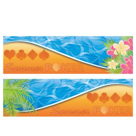 fortune flower: Summer poker banners, vector illustration