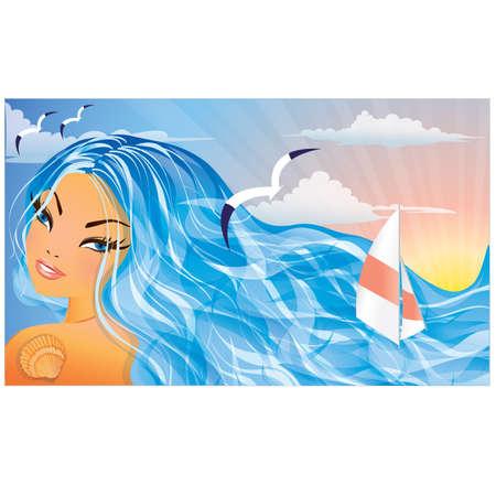 personas banandose: Hermosa ni�a de verano y mar. ilustraci�n vectorial
