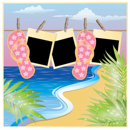 sandals: Summer beach card with photo frame in scrapbooking style, vector illustration