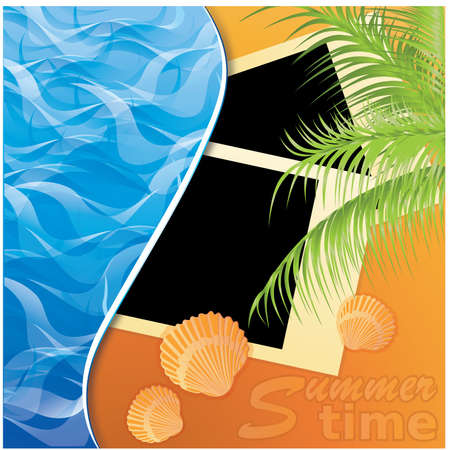 scrap booking: Summer time. Photo card on sand beach of a sea. vector illustration