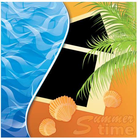 Summer time. Photo card on sand beach of a sea. vector illustration Stock Vector - 9466403