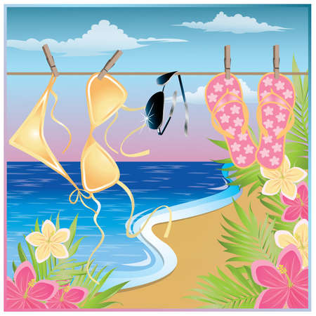 maillot de bain: Summer time card. vector illustration