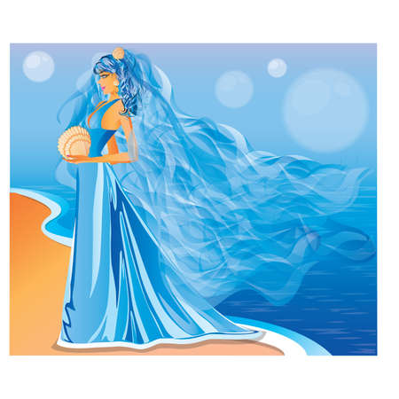 Marine bride, vector illustration Vector